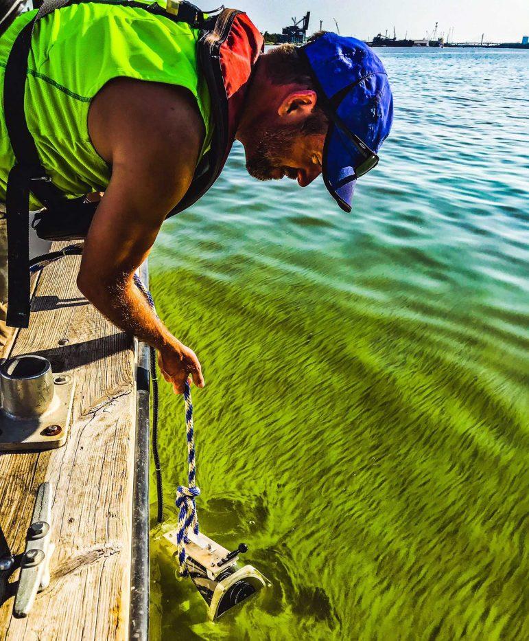 LimoTech Engineer Ed Verhamme sampling HABs in Lake Erite for 2019 HABs Grab